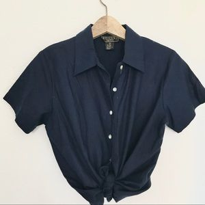 Silk Linen Navy Button Down Top